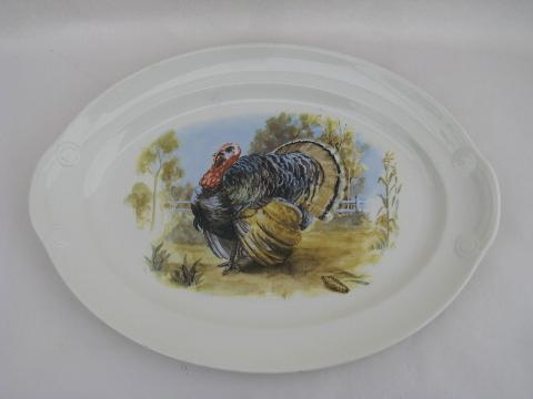 1940s - 50s Thanksgiving turkey pattern platter, vintage USA china dinnerware