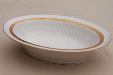 1940s 50s Theodore Haviland Embassy china laurel border wide gold band oval serving bowl