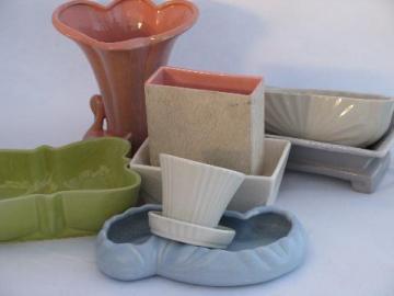 1940s - 50s pottery, vintage garden pots, planters & flower vases, pretty spring colors