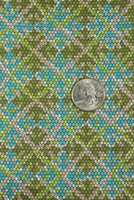 1940s 50s vintage 36 wide cotton fabric, argyle plaid pixel print blue & green