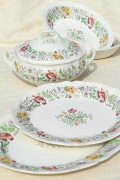 1940s 50s vintage English Royal Doulton china platters, bowls, tureen Stratford floral on ivory