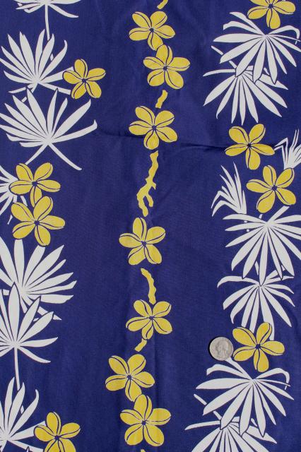 1940s 50s Vintage Hawaiian Print Fabric Navy Blue Cotton