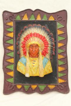 1940s 50s vintage Indian chief wall plaque,       handmade scout camp craft for retro cabin lodge