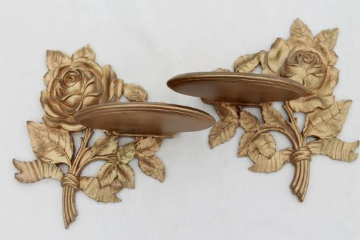 1940s 50s Vintage Syroco Wood Shelves, Ornate Gold Rose