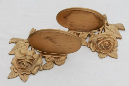 1940s 50s vintage Syroco Wood shelves, ornate gold rose leaf wall bracket shelf set