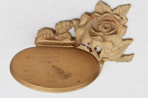 Rose Gold Shelf Brackets: 1940s 50s Vintage Syroco Wood Shelves, Ornate Gold Rose