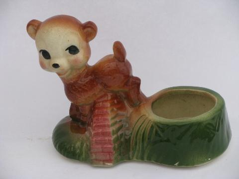 1940s - 50s vintage USA pottery animal planters, french poodle cart, laughing bears!