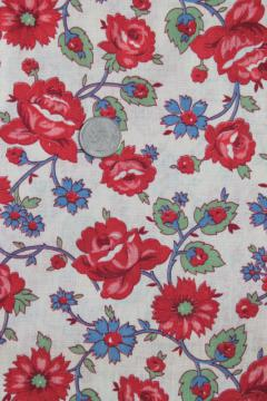 1940s 50s vintage cotton fabric, retro floral red roses flowered print