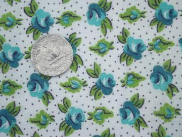 1940s 50s vintage cotton feed sack fabric, aqua blue roses print floral
