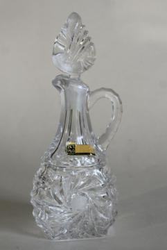 1940s 50s vintage cut lead crystal cruet bottle w/ stopper, Western Germany label