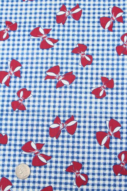 1940s 50s vintage fabric lot, cotton prints, gingham w/ bows, paisley, mod leaves