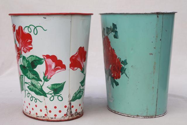 1940s 50s vintage floral print metal wastebaskets shabby