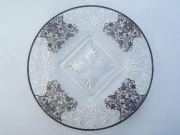 1940s - 50s vintage footed cake plate, vintage silver overlay glass