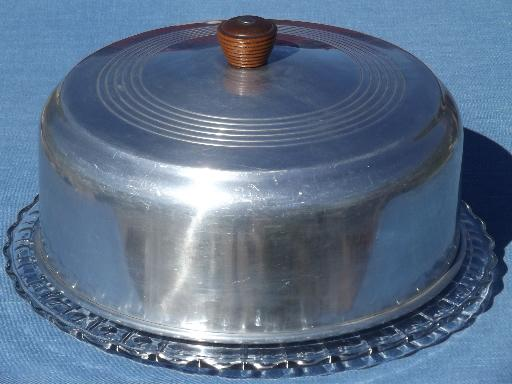 1940s 50s Vintage Glass Cake Plate W Aluminum Dome Cake Cover