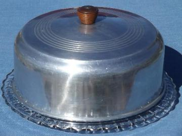 1940s 50s vintage glass cake plate w/ aluminum dome cake cover : antique cake plate with dome - pezcame.com