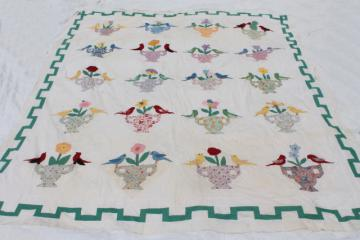 1940s 50s vintage hand-stitched applique album quilt top, birds & flowers