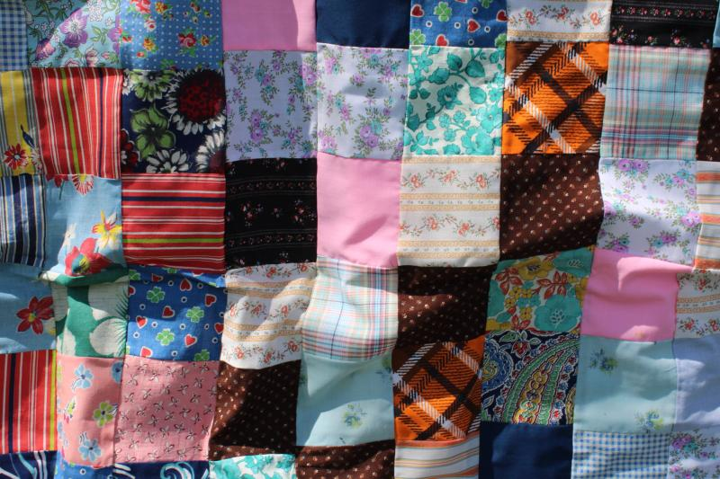 1940s 50s vintage patchwork blocks quilt top, bright cotton prints fabric