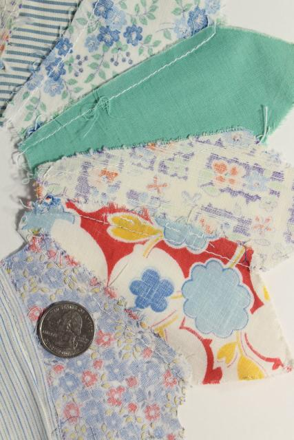 1940s 50s vintage pieced patchwork quilt blocks, dresden plate flowers all cotton print fabrics