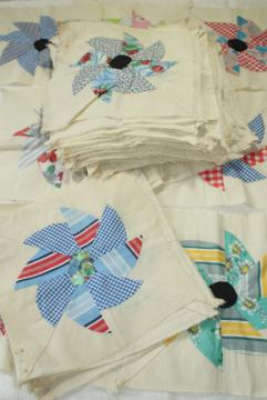 1940s 50s vintage pieced patchwork quilt blocks, pinwheel windmill cotton print fabrics