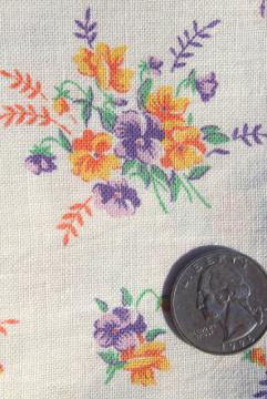 1940s 50s vintage printed cotton feed sack fabric, johnny jump up pansies
