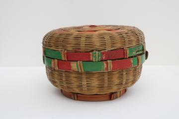 1940s 50s vintage round bamboo basket, childs size sewing box tiny work basket