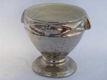 1940s - 50s vintage silver encrusted china flower bowl, large urn shaped vase