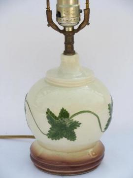 1940s - 50s vintage table lamp w/ green vines, cottage ivy pottery
