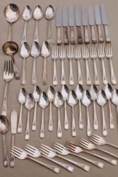1940s Sears Roebuck silver plate flatware, Newport pattern silverware estate lot mixed pieces