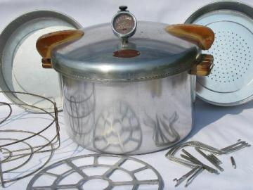 1940s, WWII vintage, 16 quart aluminum National pressure cooker from old farm kitchen