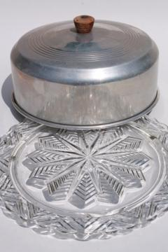 1940s or 50s vintage kitchen glass cake plate w/ metal cake cover dome : vintage cake plate - pezcame.com