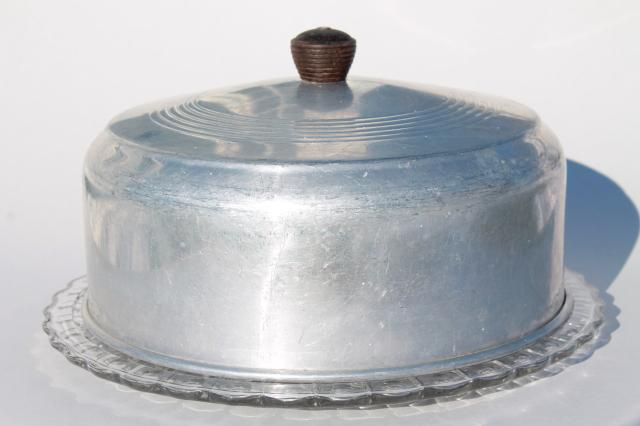 & 1940s or 50s vintage kitchen glass cake plate w/ metal cake cover dome