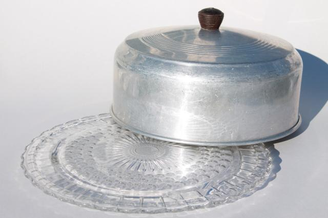 1940s Or 50s Vine Kitchen Gl Cake Plate W Metal Cover Dome