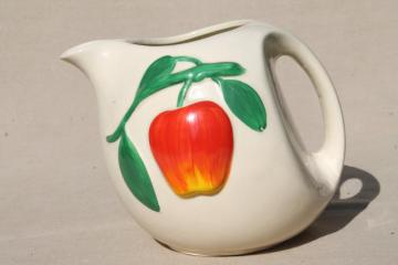1940s or 50s vintage pippin red apple pitcher, hand-painted USA pottery jug