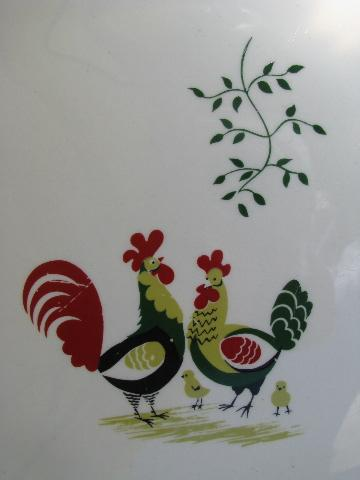 1940s pottery dinner plates, folk art rooster pattern, vintage kitchen