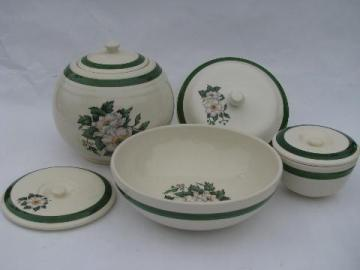 1940s vintage Cronin Bake Oven proof china kitchenware, white & pink floral, green band border