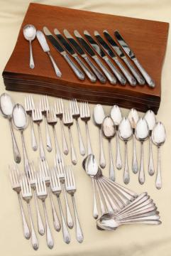 1940s vintage Exquisite silverplate flatware set, service for Wm Rogers International Silver