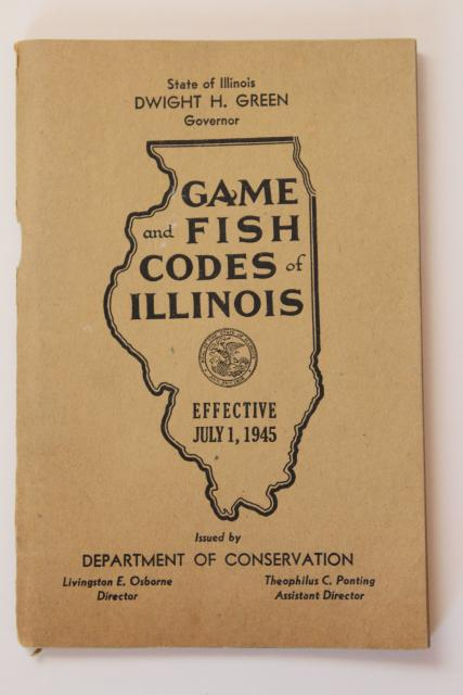 1940s vintage fish game codes of illinois fishermen for Illinois game and fish