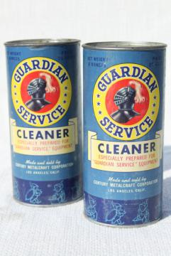 1940s vintage Guardian Service Ware aluminum metal scouring powder cleaner cans, old advertising