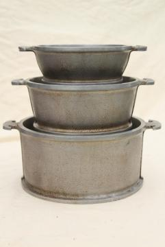 1940s vintage Guardian Service ware aluminum cookware dutch oven pots and pans stack