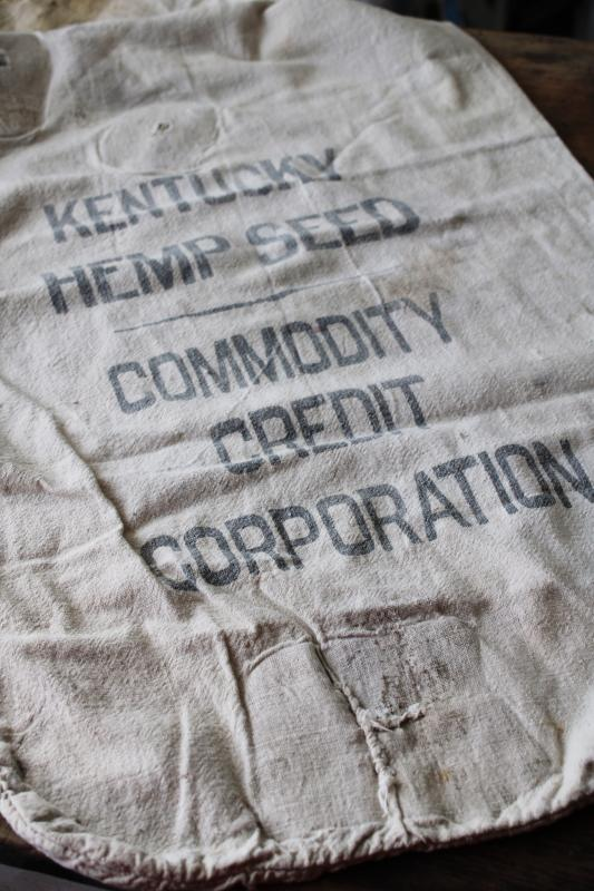 1940s vintage Kentucky Hemp Seed printed cotton sack, worn patched old feedsack