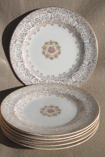 & 1940s vintage Mary Dunbar Vanity Fair china set of six dessert plates
