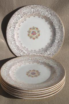 1940s vintage Mary Dunbar Vanity Fair china, set of six dessert plates