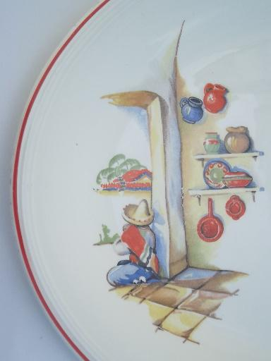 1940s vintage Mexican theme pottery platter, old Mexico scene w/ cactus