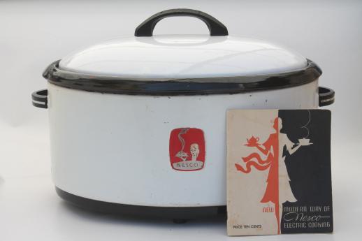 1940s Vintage Nesco Roaster Oval Slow Cooker W Instruction Manual