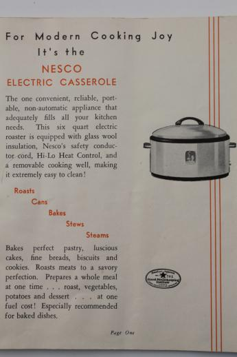 1940s Vintage Nesco Roaster Oval Slow Cooker W