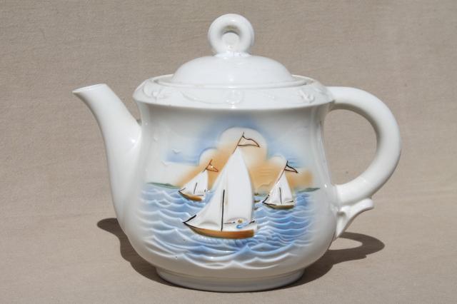 1940s Vintage Porcelier China Teapot Or Coffee Pot