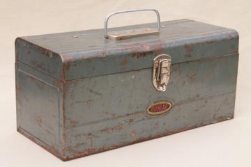 1940s vintage Sears Roebuck Dunlap tool box, rustic industrial all metal toolbox