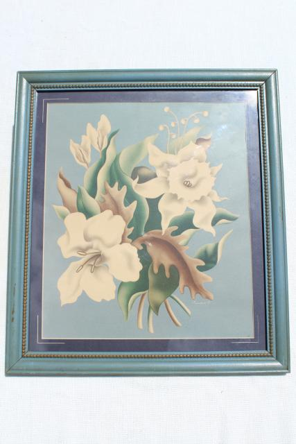 1940s vintage Turner floral prints in wood frames, shabby cottage chic farmhouse style