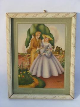 1940s vintage boudoir print in old white paint frame, southern lady & gent