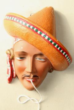 1940s vintage chalkware head wall plaque string holder, Mexican sombrero w/ handsome bandit